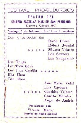 Los Vanguards - PROGRAMA FESTIVAL ESCUELAS PIAS