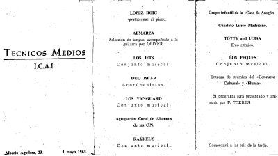 Los Vanguards - PROGRAMA FESTIVAL ICAI 1963